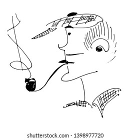 a sketch of a man in a cap and with a pipe. hand-drawn black and white vector illustration