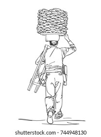 Sketch of man carrying turkish street food bagels on his head, View from back, Hand drawn illustration isolated on white background