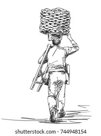 Sketch of man carrying turkish street food bagels on his head, View from back, Hand drawn illustration with hatched shades isolated on white background