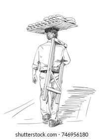 Sketch of man carrying turkish street food bread on his head, View from back, Hand drawn illustration with hatched shades isolated on white background