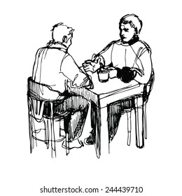 a sketch of a man conversing over dinner at a table in a restaurant