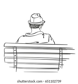 Sketch of man in hat sits on bench, View from behind, Hand drawn vector illustration isolated on white