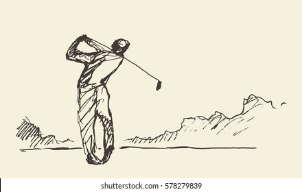 Sketch of a man hitting golf ball, hand drawn vector illustration