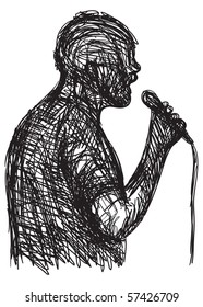 sketch of a man with a microphone - announcer or singer