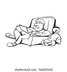 sketch of a man on a couch with a laptop. comic fat bellied man rests. the cat and the owner. comic programmer at work