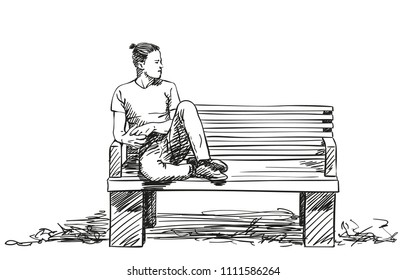 Sketch of man sitting on bench with feet up on bench and hipster haircut, Hand drawn vector illustration with hatched shades isolated on white background