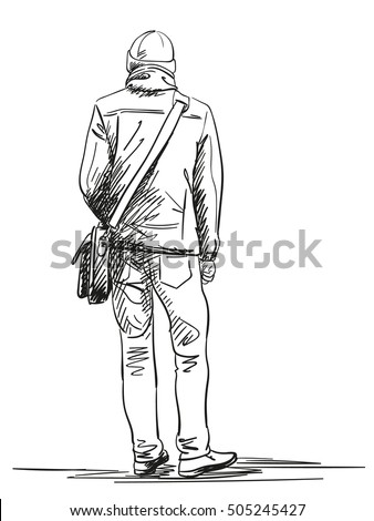 sketch man standing back view hand stockvektorgrafik