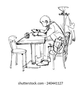sketch of  man with the tablet in a cafe