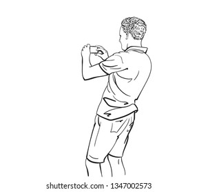 Sketch of man taking photo with smart phone, Back view, Hand drawn linear illustration