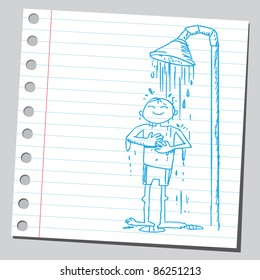 Sketch of a man taking shower