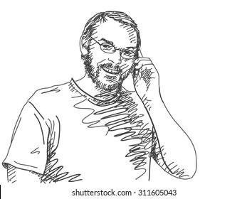 Sketch of man talking mobile phone Hand drawn vector illustration