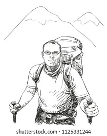 Sketch of man upper body trekking in mountains with big backpack, Hand drawn Vector illustration