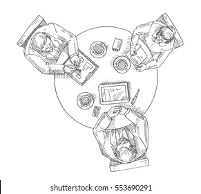 Sketch of managers working on lap top using pen tablet, notebook, pad, scratchpad, tablet, sketchpad, meeting of shareholders, round table, Hand drawn line vector illustration