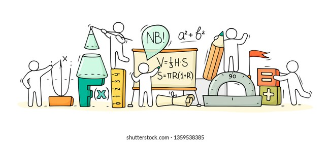 Sketch of math ckass with working little people. Doodle cute miniature of teamwork and science symbols. Hand drawn cartoon vector illustration for school subject design.