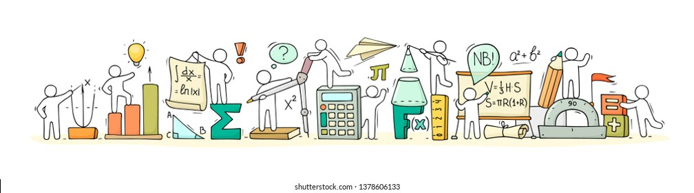 Sketch of math class with working little people. Doodle cute miniature of teamwork and science symbols. Hand drawn cartoon vector illustration for school subject design.