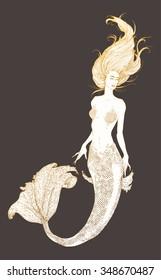 Sketch of the mermaid. Vector illustration.
