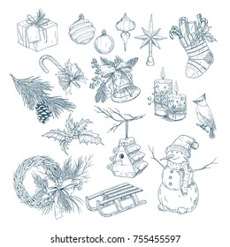 Sketch for merry christmas and 2018 happy new year celebration set of isolated accessories. Boot or sock with sweeties and candle with bird, snowman and cone, fir-tree decorations. Xmas theme