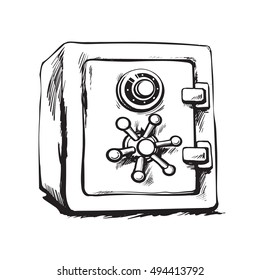 Sketch metal bank safe. Black and white hand drawn vector illustration. Closed safe isolated on white background.