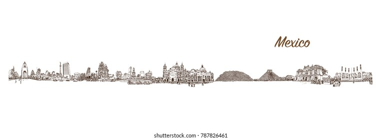 Sketch of Mexico City Skyline in vector illustration.