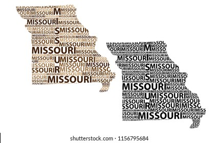 Sketch Missouri (United States of America) letter text map, Missouri map - in the shape of the continent, Map Missouri - brown and black vector illustration