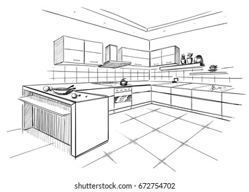 Sketch of modern corner kitchen. Black pencil lines on white background.