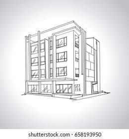Sketch of  modern house architecture .Drawing  free hand .