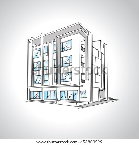 Sketch Modern House Architecture Drawing Free Stock Vector Royalty