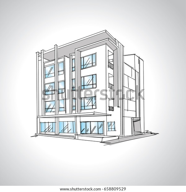 Sketch Modern House Architecture Drawing Free Stock Vector