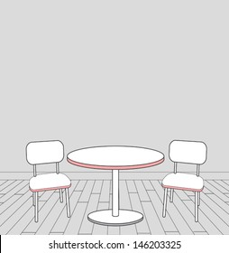 sketch of modern interior table and chairs. vector illustration