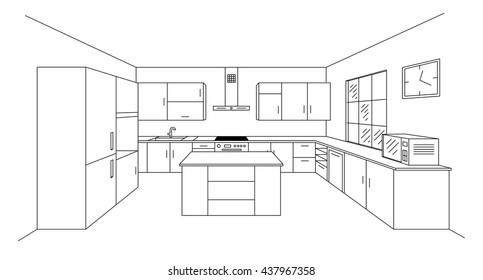 Interior Design Country Style Kitchen 3 D Stock Illustration
