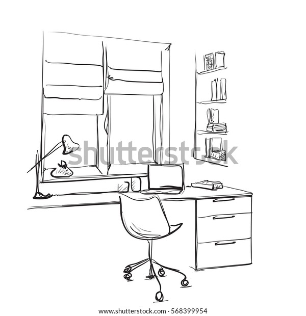 Lamp Vectorroyalty Work Free Sketch Table Modern Workspace Stock O8k0wPnX