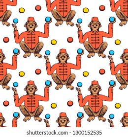 Sketch mokey juggler in vintage style, vector seamless pattern