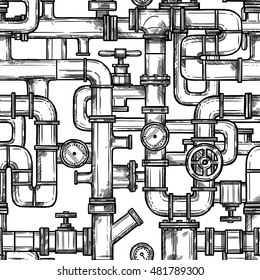 Sketch monochrome seamless pattern with pipes system doodle vector illustration