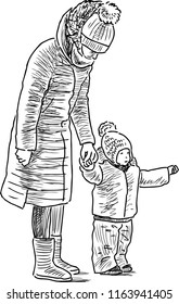 Sketch of a mother with her kid on a stroll