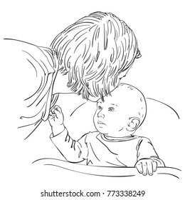 Sketch of mother tenderly with love kissing baby in his head while baby looking up at his mom, Happy family moments, Hand drawn vector line art illustration