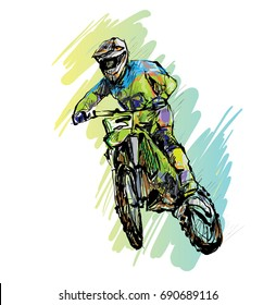 Sketch of Motorcross sportsman, drawing outline, illustration vector