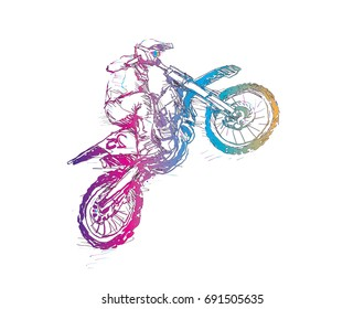 Sketch of Motorcross sportsman, drawing outline in rainbow colou