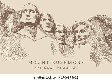 Sketch of Mount Rushmore National Memorial, South Dakota, America, hand-drawn.
