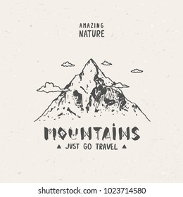 Sketch of a mountains, engraving style. Hand drawn vector illustration