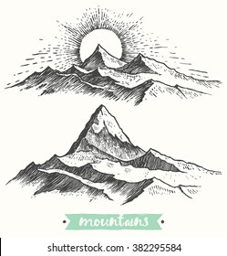Sketch of a mountains, engraving style, hand drawn vector illustration