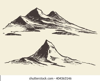 Sketch of mountains, engraving style, hand drawn vector illustration