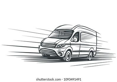 Sketch of moving delivery van. Vector.