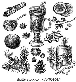 Sketch Mulled wine and spices set. Hand drawn Merry Christmas and Happy New Year holiday illustration.hot tea