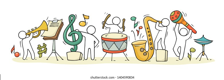 Sketch of music class with working little people. Doodle cute miniature of teamwork and musical instruments. Hand drawn cartoon vector illustration for school subject design.