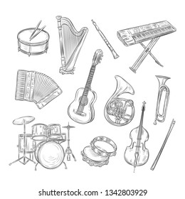Sketch musical instruments. Drum harp flute synthesizer accordion guitar trumpet cello. Music vintage outline hand drawn vector set