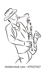 Sketch of a musician with a saxophone