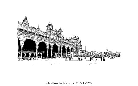 Sketch of Mysore Palace, is a historical palace and a royal residence at Mysore in the southern Karnataka state of India in vector illustration.