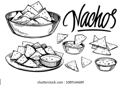 Sketch of nachos. Hand drawn illustration converted to vector