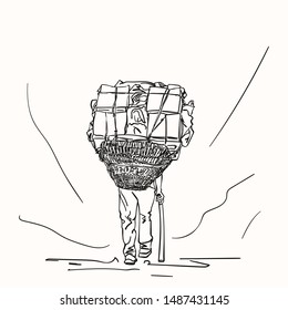 Sketch of nepali porter carrying full load heavy basket on his head in traditional way, Hand drawn linear illustration