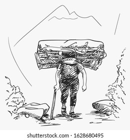 Sketch of nepali porter carrying full load heavy basket on his head in traditional way in mountains, Hand drawn illustration
